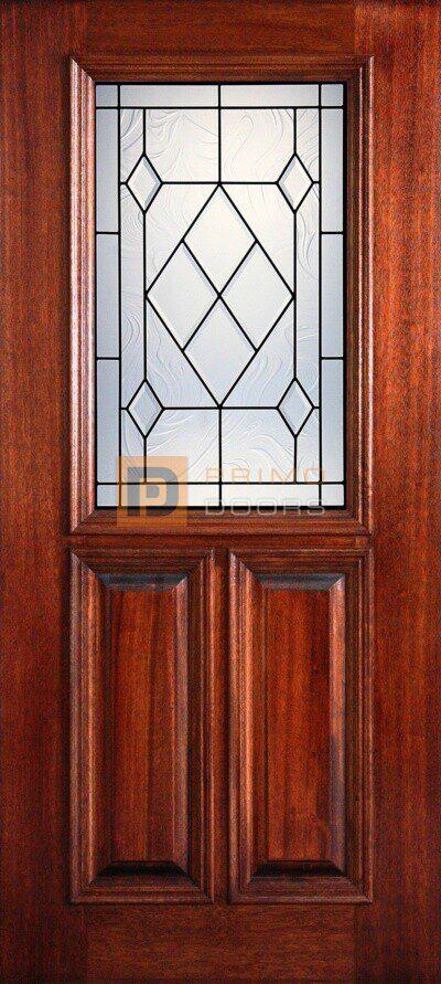 """6' 8"""" 1/2 (Half) Lite Decorative Glass Mahogany Wood Front Door - PD 3068-12 SABI"""
