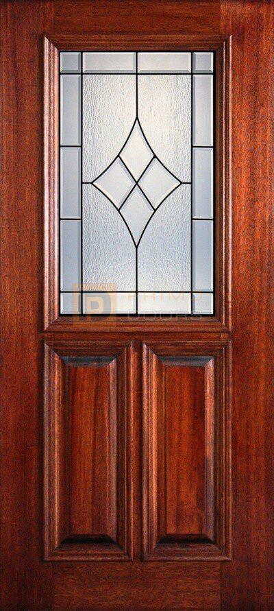 """6' 8"""" 1/2 (Half) Lite Decorative Glass Mahogany Wood Front Door - PD 3068-12 SANS"""