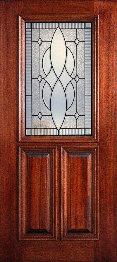 "6' 8"" 1/2 (Half) Lite Decorative Glass Mahogany Wood Front Door -PD 3068-12 WICH"