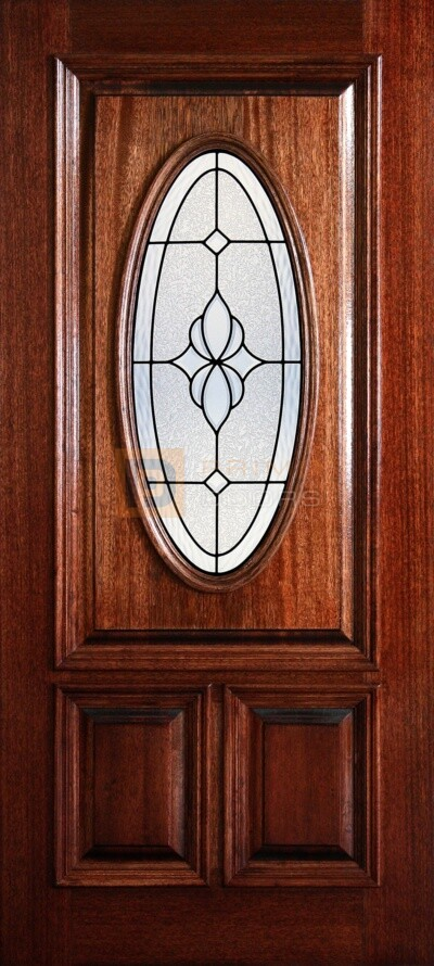 "6' 8"" 1/2 (Half) Lite Oval Decorative Glass Mahogany Wood Front Door - PD 3068-12O CARL"
