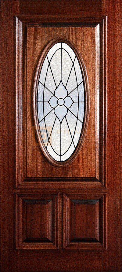 "6' 8"" 1/2 (Half) Lite Oval Decorative Glass Mahogany Wood Front Door - PD 3068-12O IMPE"
