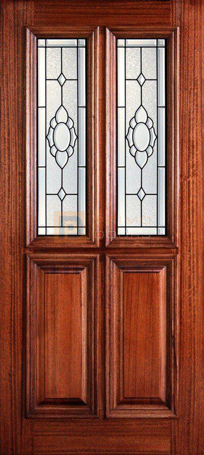 """6' 8"""" 1/2 (Half) Oval Lite Decorative Glass Mahogany Wood Front Door - PD 3068-12TL AUGU"""