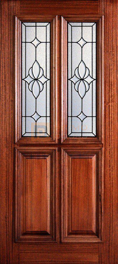 """6' 8"""" 1/2 (Half) Twin Lite Decorative Glass Mahogany Wood Front Door - PD 3068-12TL DOVE"""