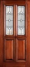 """6' 8"""" 1/2 (Half) Twin Lite Decorative Glass Mahogany Wood Front Door - PD 3068-12TL JACK"""