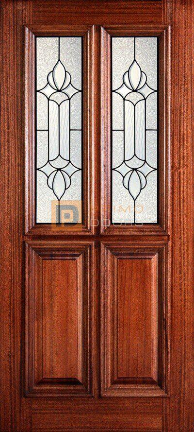 """6' 8"""" 1/2 (Half) Twin Lite Decorative Glass Mahogany Wood Front Door - PD 3068-12TL JUNE"""