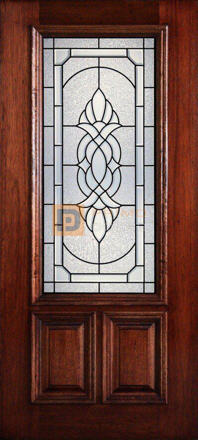 """6' 8"""" 2/3 Lite Decorative Glass Mahogany Wood Front Door - PD 3068-23 ASHT"""