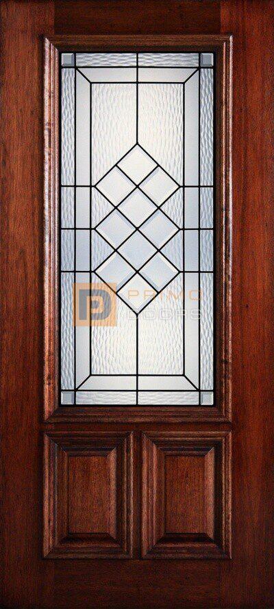 """6' 8"""" 2/3 Lite Decorative Glass Mahogany Wood Front Door - PD 3068-23 BRAZ"""