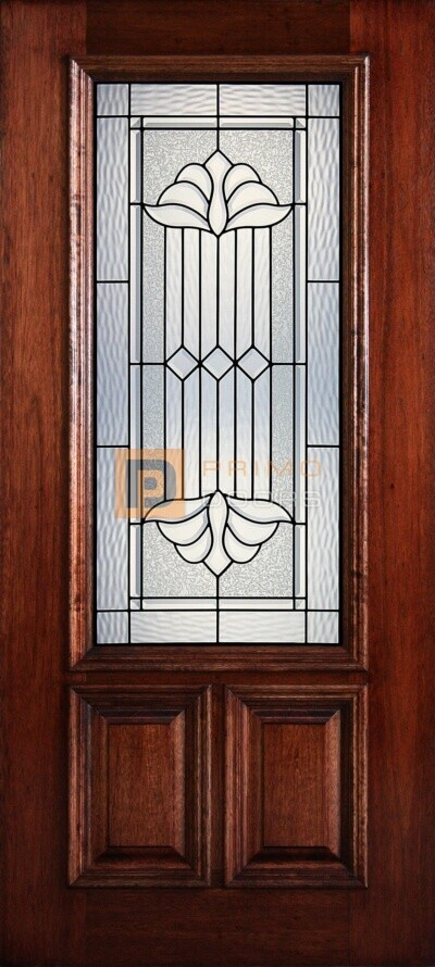 """6' 8"""" 2/3 Lite Decorative Glass Mahogany Wood Front Door - PD 3068-23 DELT"""