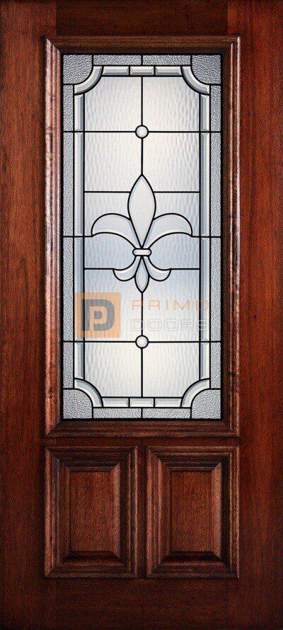"""6' 8"""" 2/3 Lite Decorative Glass Mahogany Wood Front Door - PD 3068-23 FLEU"""