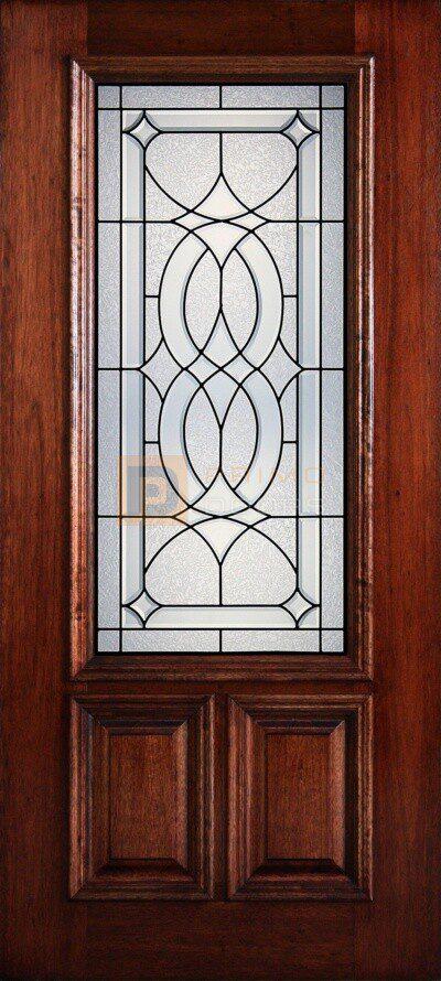 """6' 8"""" 2/3 Lite Decorative Glass Mahogany Wood Front Door - PD 3068-23 LASA"""