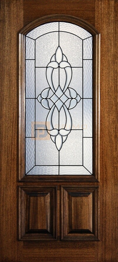 """6' 8"""" 2/3 Arch Lite Decorative Glass Mahogany Wood Front Door - PD 3068-23A BLAN"""