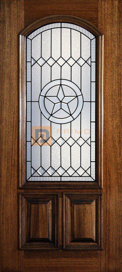 "6' 8"" 2/3 Arch Lite Decorative Glass Mahogany Wood Front Door - PD 3068-23A PECO"