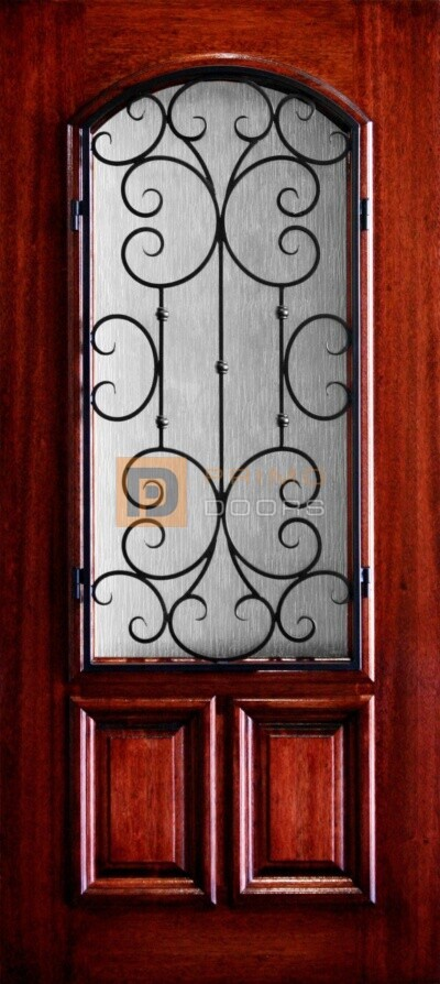 """6' 8"""" 2/3 Arch Lite With Iron Grill Decorative Glass Mahogany Wood Front Door - PD 3068-23A SANT"""