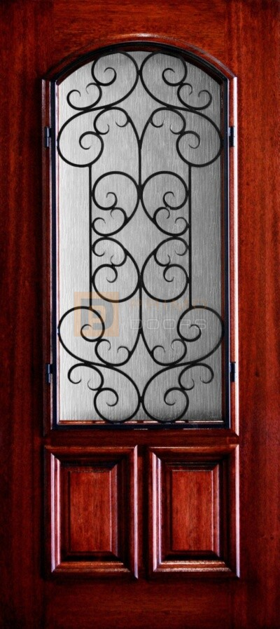 """6' 8"""" 2/3 Arch Lite With Iron Grill Decorative Glass Mahogany Wood Front Door - PD 3068-23A SIEN"""