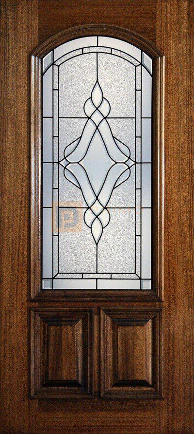 "6' 8"" 2/3 Arch Lite Decorative Glass Mahogany Wood Front Door - PD 3068-23A TRIN"