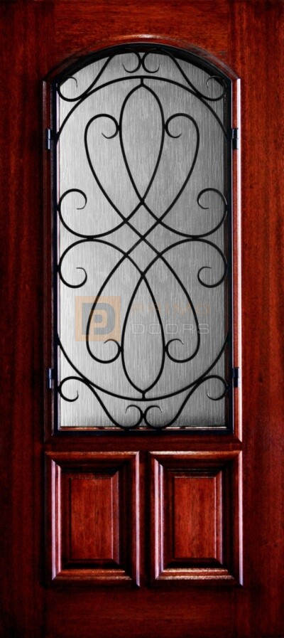 """6' 8"""" 2/3 Lite Decorative Glass Mahogany Wood Front Door - PD 3068-23A WHIT"""