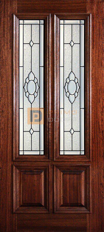 """6' 8"""" 2/3 Twin Lite Decorative Glass Mahogany Wood Front Door - PD 3068-23TL AUGU"""