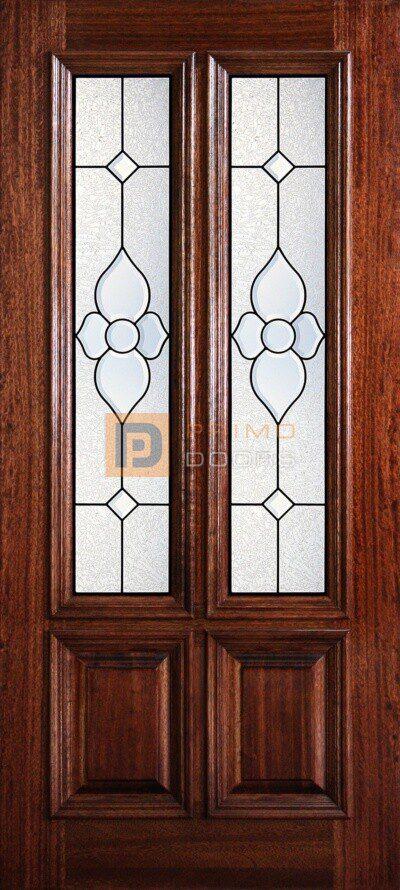 "6' 8"" 2/3 Twin Lite Decorative Glass Mahogany Wood Front Door - PD 3068-23TL CHEY"