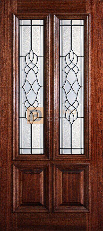 """6' 8"""" 2/3 Twin Lite Decorative Glass Mahogany Wood Front Door - PD 3068-23TL CONC"""