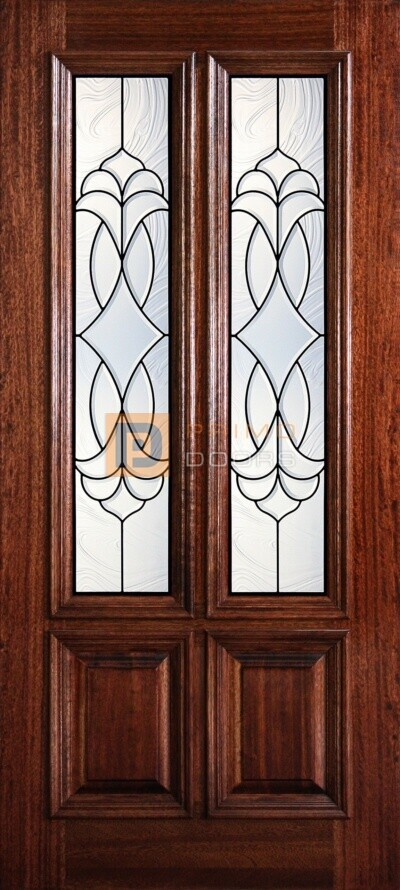 """6' 8"""" 2/3 Twin Lite Decorative Glass Mahogany Wood Front Door - PD 3068-23TL CROC"""