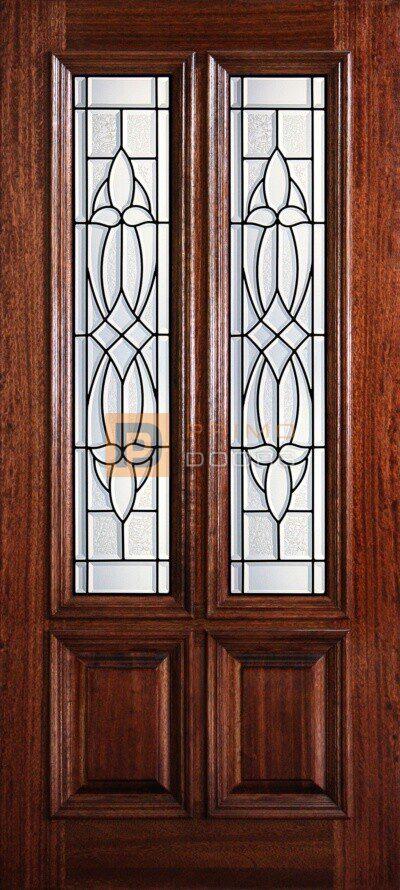 """6' 8"""" 2/3 Twin Lite Decorative Glass Mahogany Wood Front Door - PD 3068-23TL HART"""