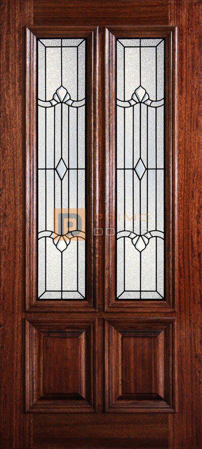"""6' 8"""" 2/3 Twin Lite Decorative Glass Mahogany Wood Front Door - PD 3068-23TL JACK"""