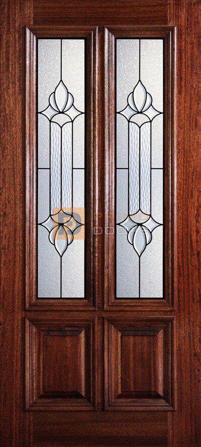 """6' 8"""" 2/3 Twin Lite Decorative Glass Mahogany Wood Front Door - PD 3068-23TL JUNE"""
