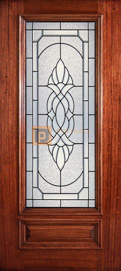 """6' 8"""" 3/4 Lite Decorative Glass Mahogany Wood Front Door - PD 3068-34 ASHT"""
