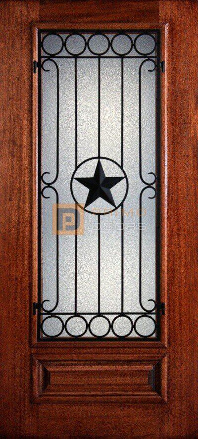 """6' 8"""" Mahogany Wood Door - 3/4's Light Decorative Glass - PD 3068-34 AVIG"""