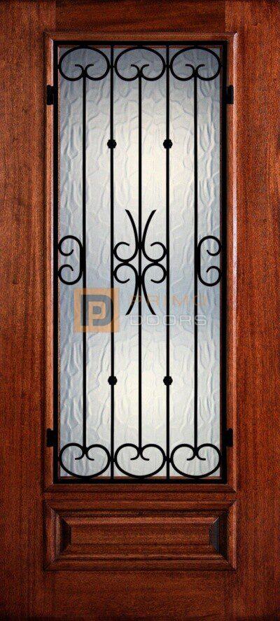 """6' 8"""" Mahogany Wood Door - 3/4's Light Decorative Glass - PD 3068-34 BALF"""