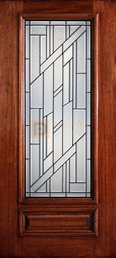 """6' 8"""" 3/4 Lite Decorative Glass Mahogany Wood Front Door - PD 3068-34 COLU"""