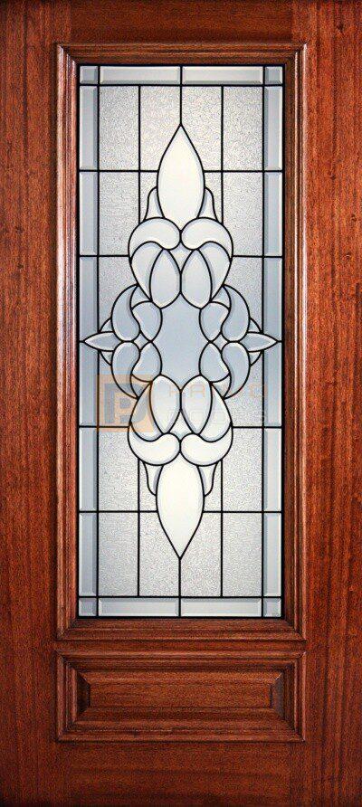 """6' 8"""" 3/4 Lite Decorative Glass Mahogany Wood Front Door - PD 3068-34 CORN"""