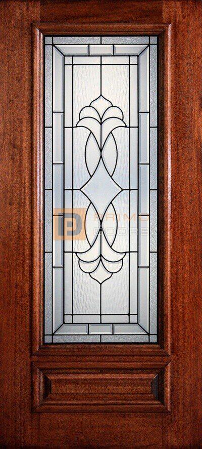"""6' 8"""" 3/4 Lite Decorative Glass Mahogany Wood Front Door - PD 3068-34 CROC"""