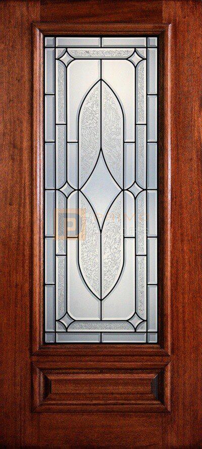 """6' 8"""" 3/4 Lite Decorative Glass Mahogany Wood Front Door - PD 3068-34 DART"""