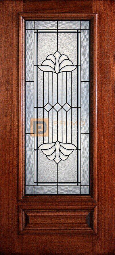 """6' 8"""" 3/4 Lite Decorative Glass Mahogany Wood Front Door - PD 3068-34 DELT"""