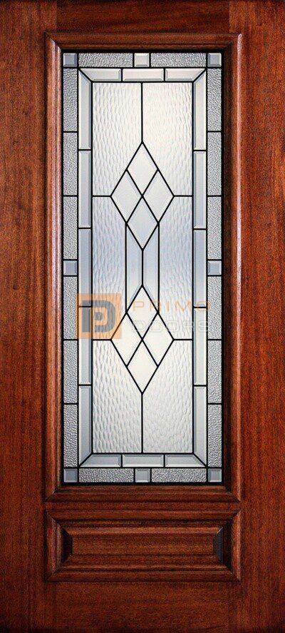 """6' 8"""" 3/4 Lite Decorative Glass Mahogany Wood Front Door - PD 3068-34 HAMI"""