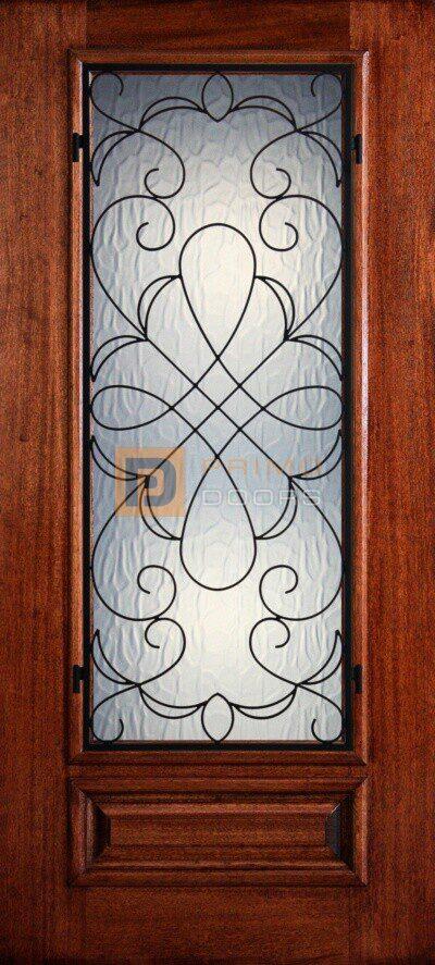 """6' 8"""" Mahogany Wood Door - 3/4's Light Decorative Glass - PD 3068-34 HAMM"""