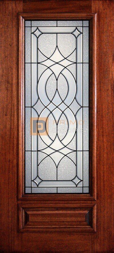 """6' 8"""" 3/4 Lite Decorative Glass Mahogany Wood Front Door - PD 3068-34 LASA"""