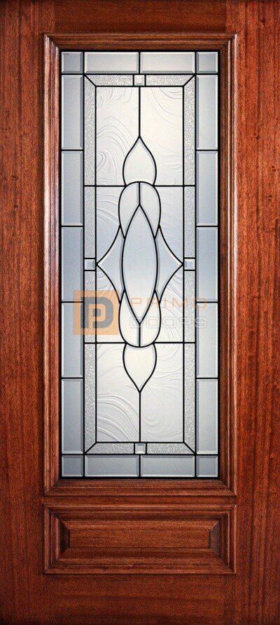"6' 8"" 3/4 Lite Decorative Glass Mahogany Wood Front Door - PD 3068-34 MADI"