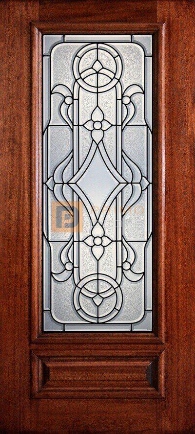 """6' 8"""" 3/4 Lite Decorative Glass Mahogany Wood Front Door - PD 3068-34 MAVE"""