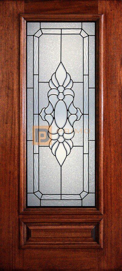 """6' 8"""" 3/4 Lite Decorative Glass Mahogany Wood Front Door - PD 3068-34 MEDI"""