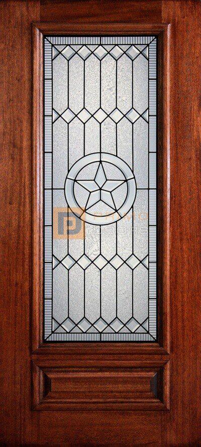 "6' 8"" 3/4 Lite Decorative Glass Mahogany Wood Front Door - PD 3068-34 PECO"