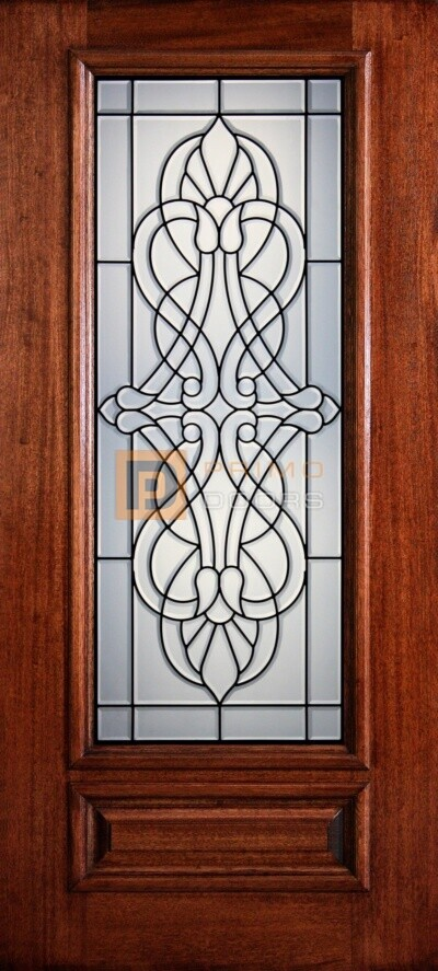 "6' 8"" 3/4 Lite Decorative Glass Mahogany Wood Front Door - PD 3068-34 PINE"