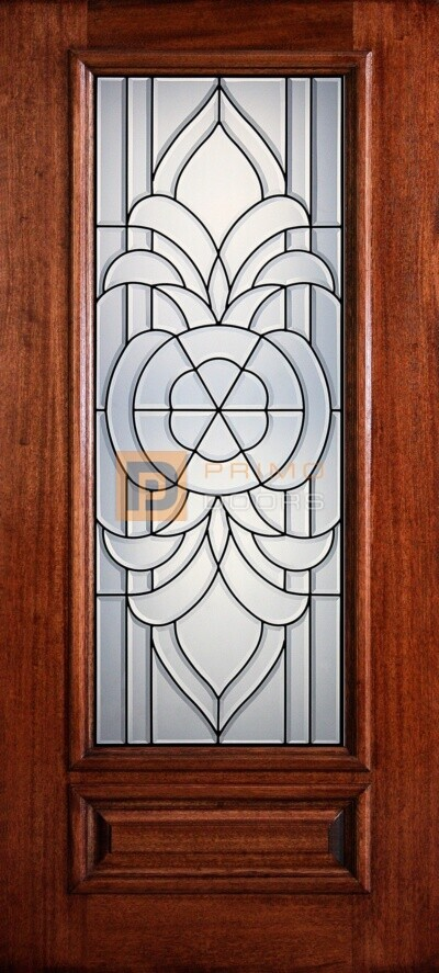 "6' 8"" 3/4 Lite Decorative Glass Mahogany Wood Front Door - PD 3068-34 PRIN"