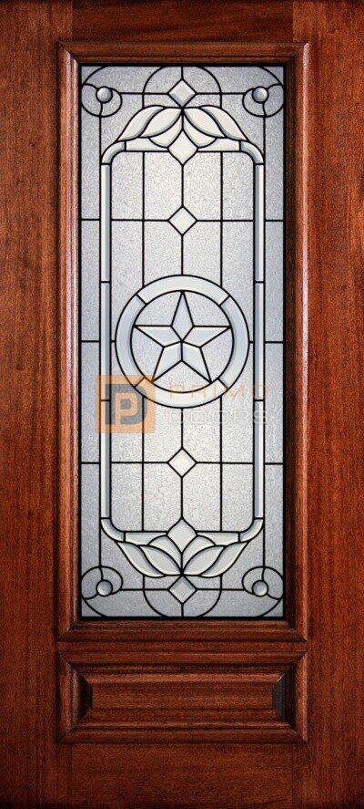 """6' 8"""" 3/4 Lite Decorative Glass Mahogany Wood Front Door - PD 3068-34 SANJ"""