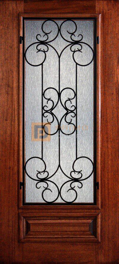 "6' 8"" Mahogany Wood Door - 3/4's Light Decorative Glass - PD 3068-34 SIEN"