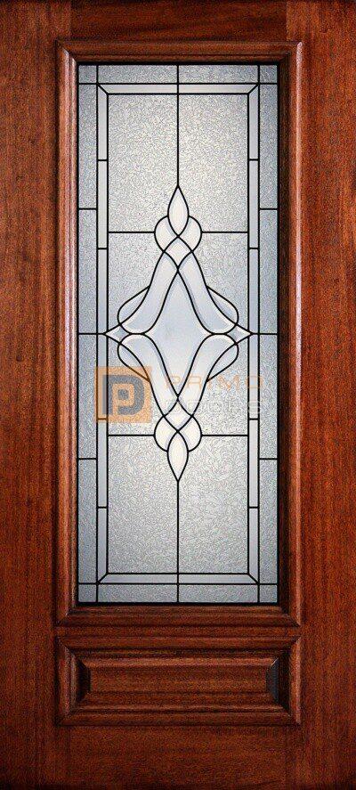 "6' 8"" 3/4 Lite Decorative Glass Mahogany Wood Front Door - PD 3068-34 TRIN"
