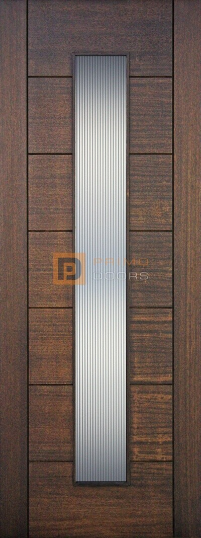 8' Mahogany Wood Contemporary Door with 1 Lite Glass Options - 3-6x8-0_Mahogany_1_Lite_Vertical_Reeded