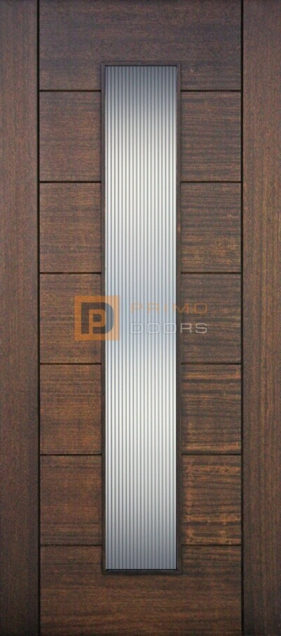 """6' 8"""" Mahogany Wood Contemporary Door with 1 Lite Glass Options - PD 3068 C1LT REED"""
