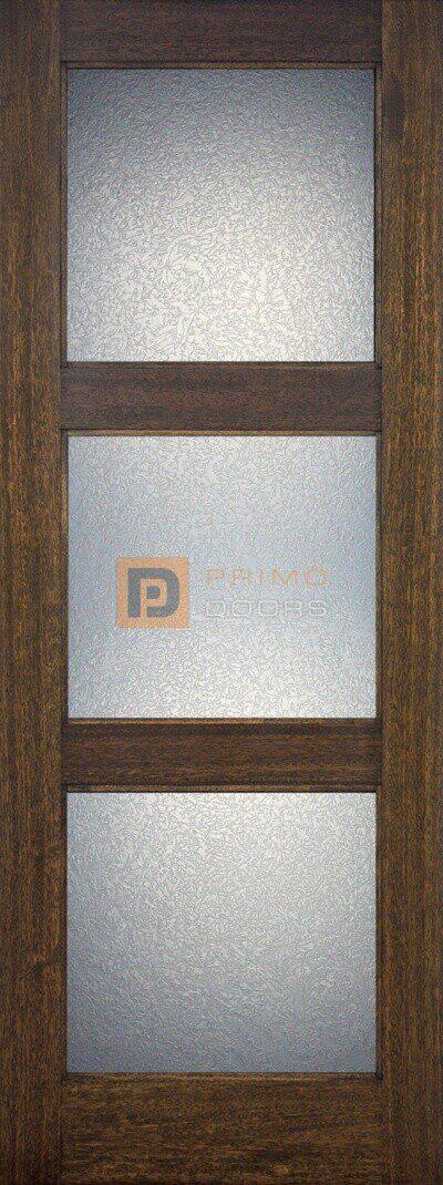 """6' 8"""" Mahogany Wood Door - 3 Lite Contemporary - PD 3068 C3LT GC"""